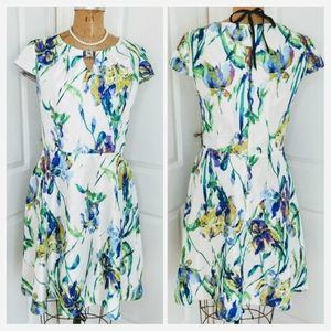 R&K Watercolor Iris Print Dress Size 14